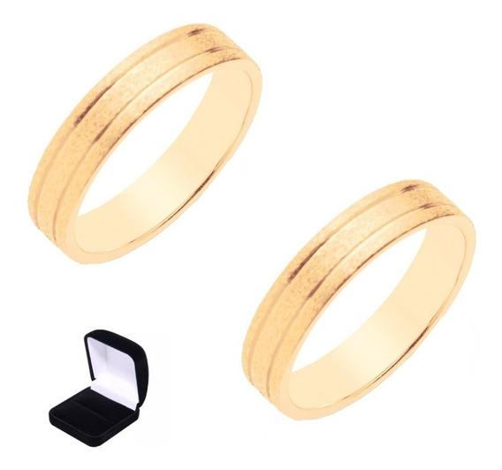 Par Alianças Rommanel Foscas F. Ouro Joias Originais 510332 Para Compromisso Casamento Noivado Com Garantia Nota Fiscal