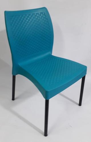 Silla Plastica Con Pata Metalica Diseño Eva Sin Brazo Bar Re