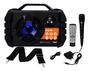Caixa De Som Portátil Hayonik Hs01 50w Bateria + Microfone