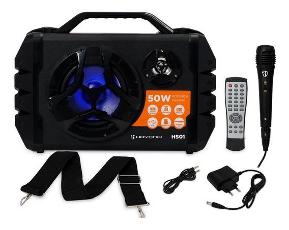 Caixa De Som Bluetooth Hayonik Hs01 50w Bateria + Microfone