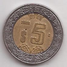Mexico Moneda Bimetalica 5 Pesos Año 2005 !!!!!!!!!