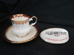 Elizabethan Xícara E Píres De Chá Bone China England