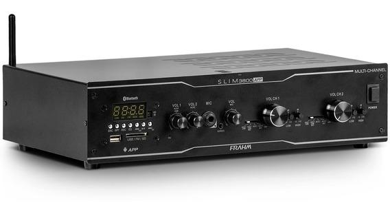 Amplificador Frahm Slim 3800 App Multi Channel Usb Sd Fm Bt