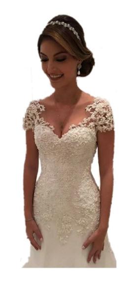 Vestido De Noiva Semi Sereia Longo Pronta Entrega