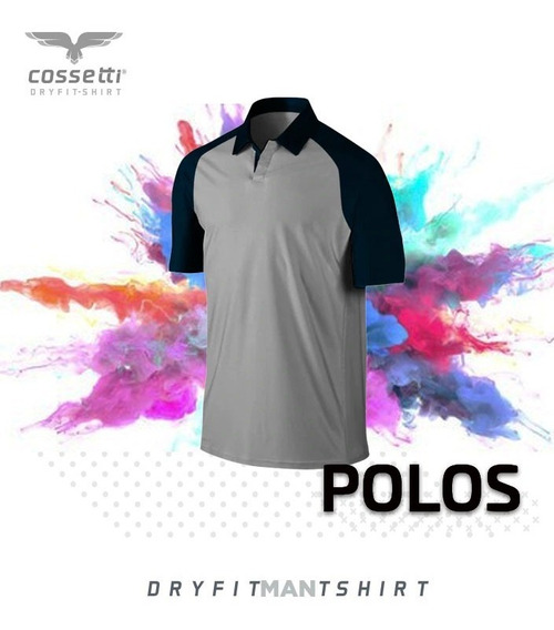 Playera Tipo Polo Cossetti Manga Corta Dryfit Ranglan Xl 2xl