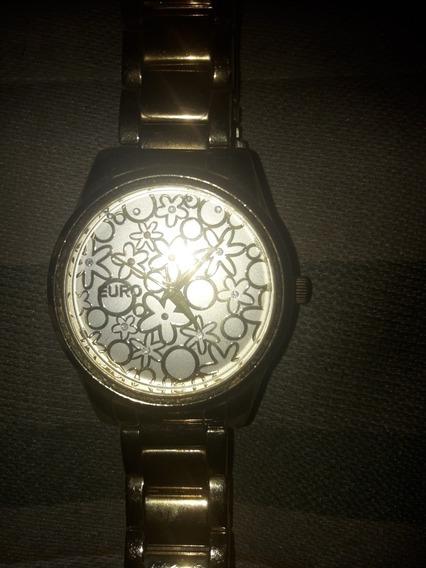 Relógio De Pulso Feminino Euro Trabalhado Dourado Original