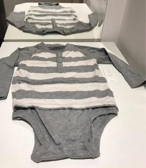 Body Camisa Gap Listrado Branco E Cinza 18 A 24 Meses