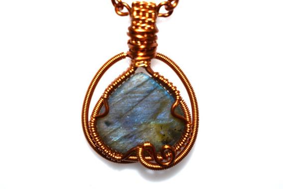 Collar Piedra Labradorite Azul Con Cobre Esmaltado