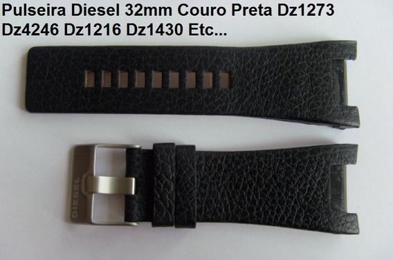 Pulseira Diesel Dz-4246 Couro + Frete Grátis, Com Fivela