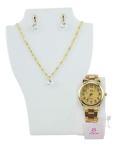 Relógio Feminino Dourado Caixa Colar+brinco Nfe Qualidade