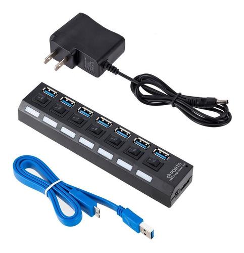 Hub Usb 3.0 De 7 Puertos Switch Con Adaptador De Corriente