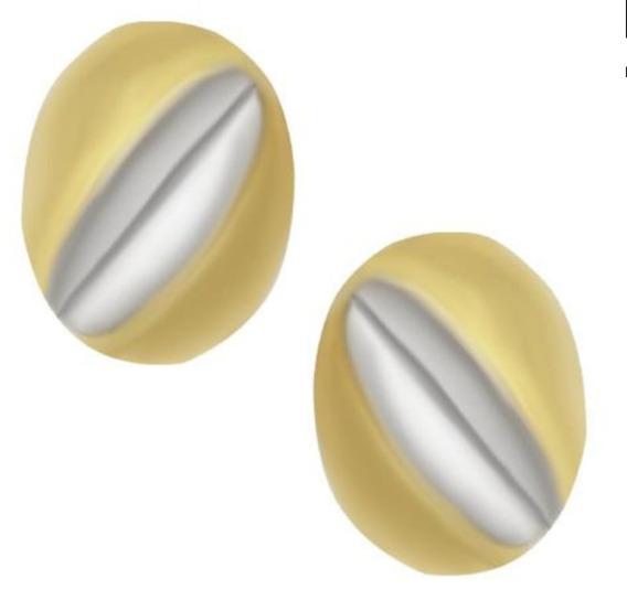 Aretes De Broche Tipo Raqueta Dos Oros Amarillo Y Blanco