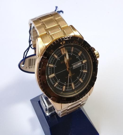 Relógio Dourado Masculino Atlantis Original G-3392