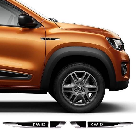 Par De Aplique Lateral Renault Kwid 2017/19 Emblema Resinado