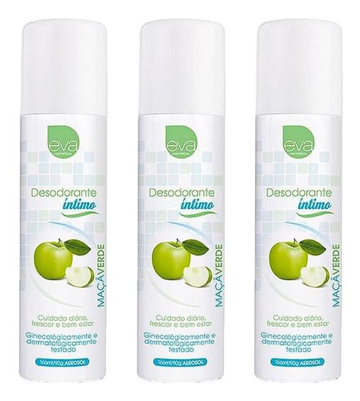 Desodorante Íntimo Feminino Maçã Verde 3 Unidades 166 Ml