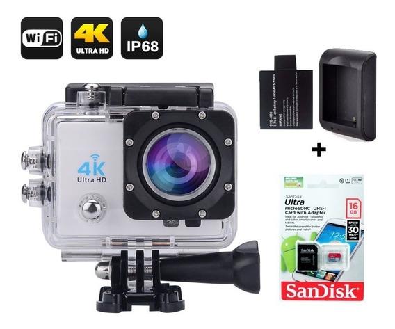 Filmadora 4k Câmera Wifi Super Kit Cartão+carregador+bateria