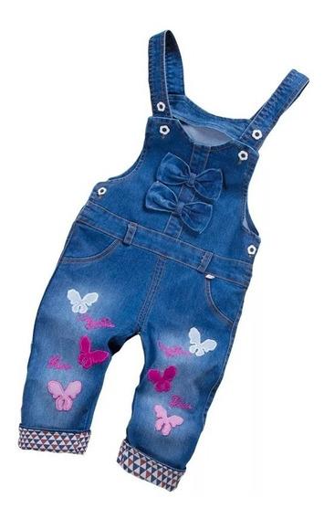 Macacão Jardineira Jeans Infantil Borboletas