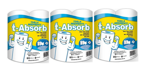 Toalla Absorbente T-absorb Blanco (3 Paq X 2 Rollos)