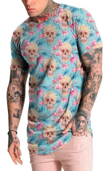 Camiseta Camisa Masculina Longline Caveiras Floral Florido
