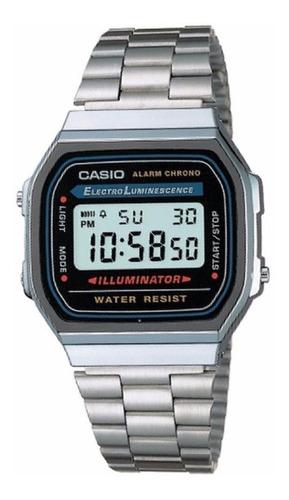 Reloj Casio Unisex A168wa Plateado Despertador 100% Original