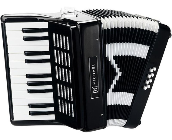 Acordeon Gaita Sanfona Michael 8 Baixo Acm0822 Bk C/ Bag