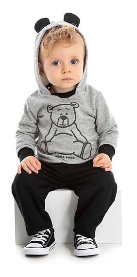 Conjunto Moletom Bebê Menino Inverno Calça E Blusa Orelinha