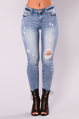 Jeans Con Rotos Mujer Dama Chicas Tiro Alto Talla 6 16 Mercado Libre