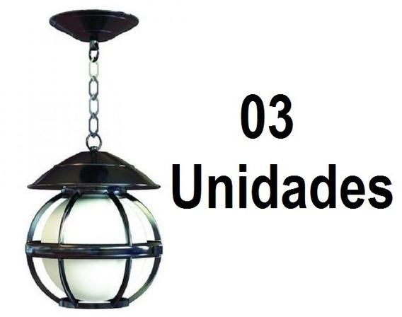 3 Un. Pendente Externo Alumínio Tropical Globo 4101 Preto