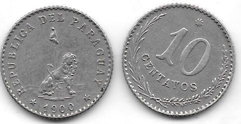 Moneda De Paraguay Año 1900 De 10 Centavos Buena+