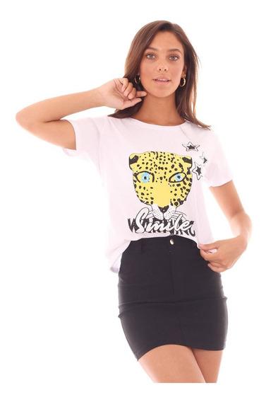 Remera Mujer Blanco Negro Talle Unico