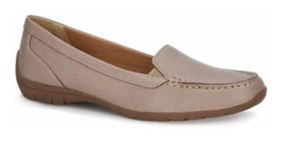 Zapato Dama Tipo Loafer Súper Cómodo De Piel Beige