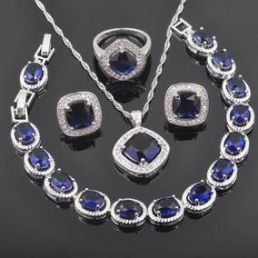 d809d09a3796 Fahoyo Plaza Zafiro Azul 925 Plata Esterlina Joyas... (7) por eBay