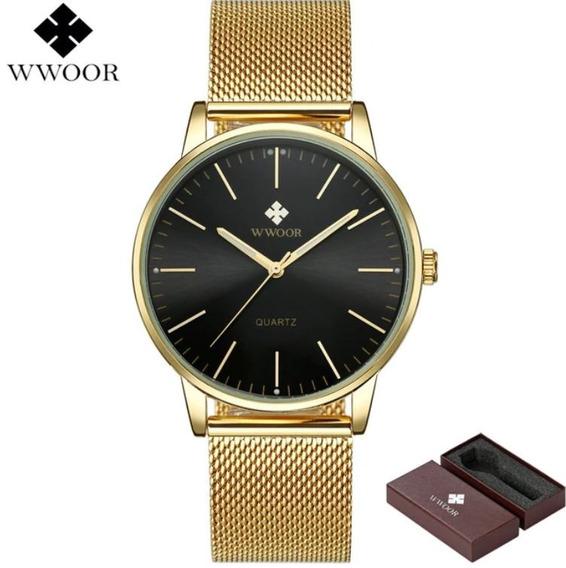 Relógio Unissex Slim Ultra Fino Wwoor 8832 Original