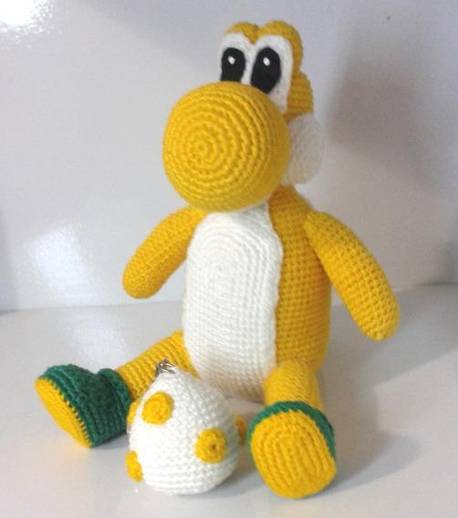 Boneco (amigurumi) Yoshi De Croche Amarelo + Blinde