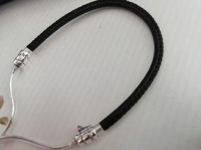Pulseira Bracelete Couro E Prata 925 - Para Beloque Pandora