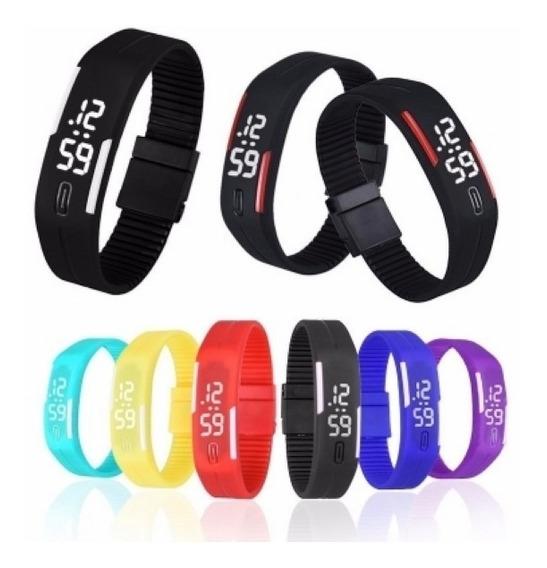 Relógio Led Digital Sport Bracelete Pulseira Silicone Preto