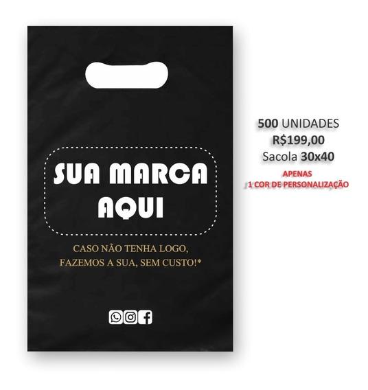 Sacolas Personalizadas 30x40 Preto (gramatura 0,9)/500unds