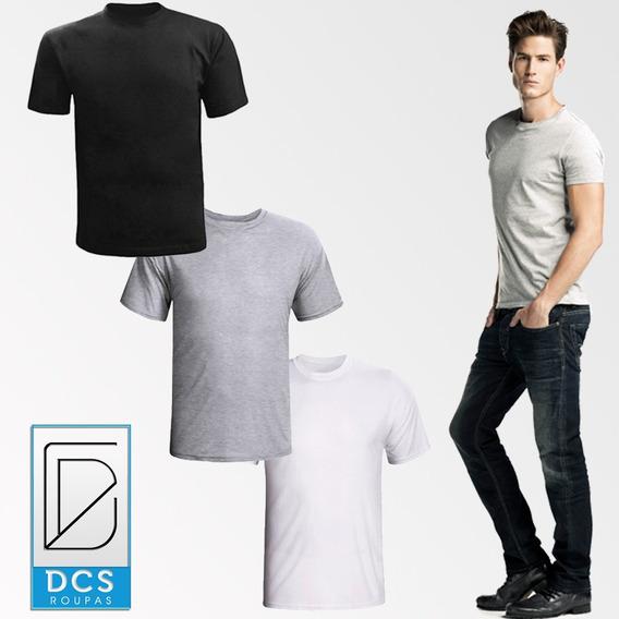 Kit 5 Camisas Slim Fit Camiseta Básica Lisa Masculina Básica