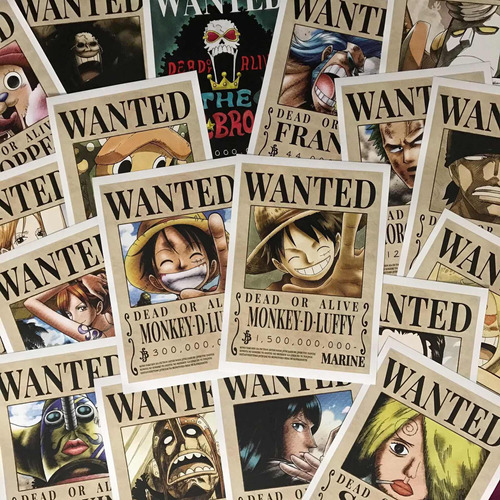 Imagen 1 de 5 de Cartel Wanted Mugiwara X 18 One Piece Combo Recompensas