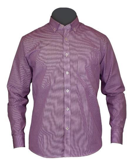 Camisa Vestir Manga Larga Morada Cuadros Moderna Algodón Kob