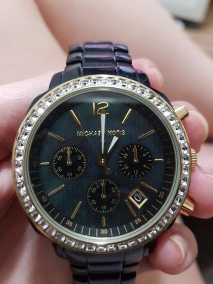 Relógio Michael Kors Pulseira Preta Com Dourado Semi Usado