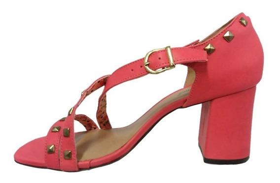Sandália Ana Gimenez Pink Tachas Salto Alto Sem Frete 009858