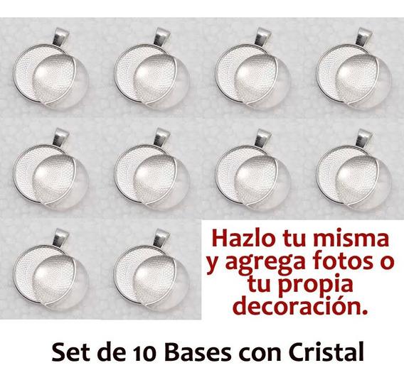 Set De 10 Bases Camafeo Con Cristal Dije Personalizado Diy