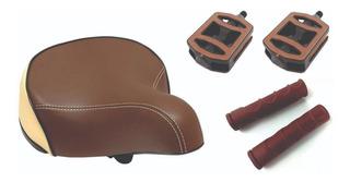 Selim Elleven Super Comfort + Manopla + Pedal Marrom Bege