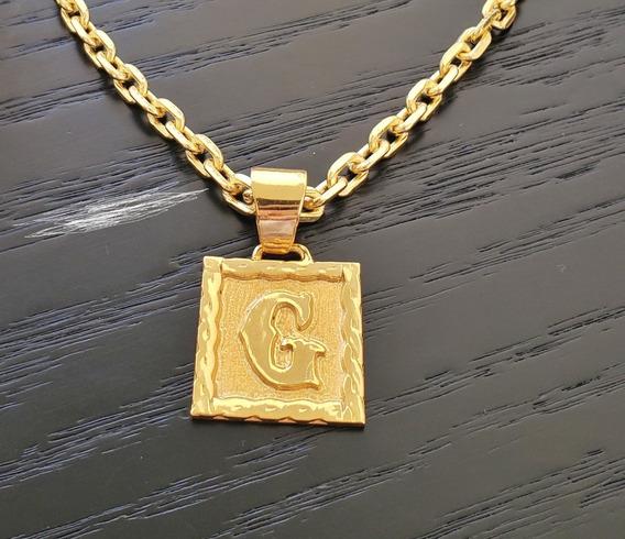 Corrente 70cm 5mm + Placa Letra Banhados A Ouro 18k
