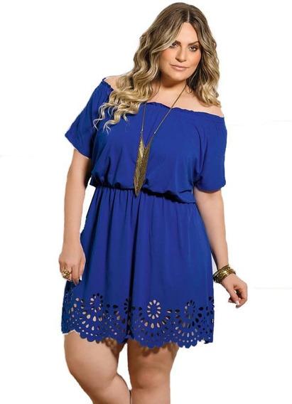 Vestido Roupa Feminina Plus Size Azul Vazado Royal Gordinha