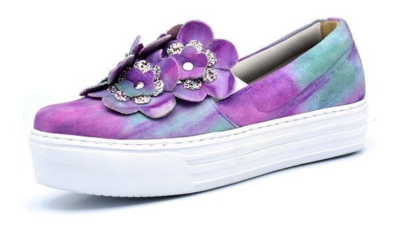 Sapatilha Feminina Colorido Com Detalhes De Flores