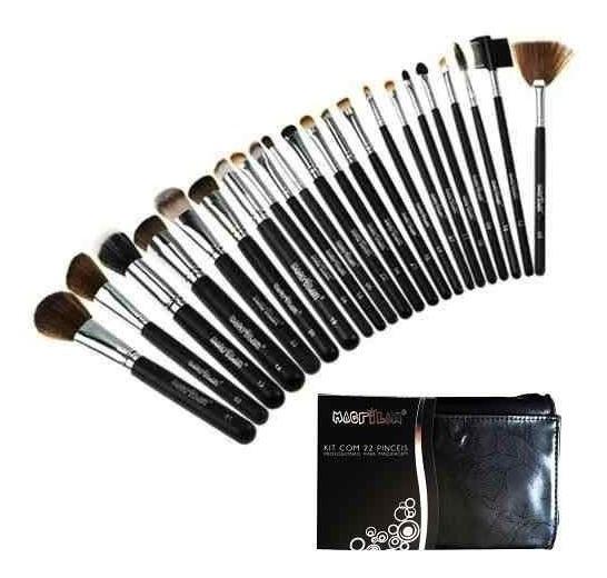 Kit Pinceis Maquiagem Macrilan Pincel Profissional Kabuki 22