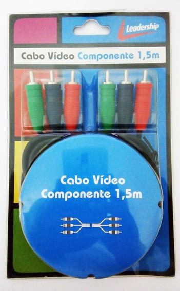 Cabo Para Entrada Vídeo Componente 3 + 3 Rca 1,5 Metros