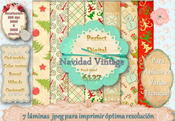 7 Fondos Navidad Decoupage Scrapbook Tarjetas Mesa Navideña
